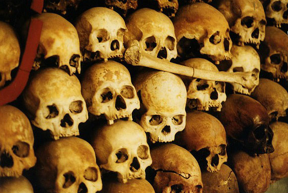Skulls of the victims of Tuol Sleng prison