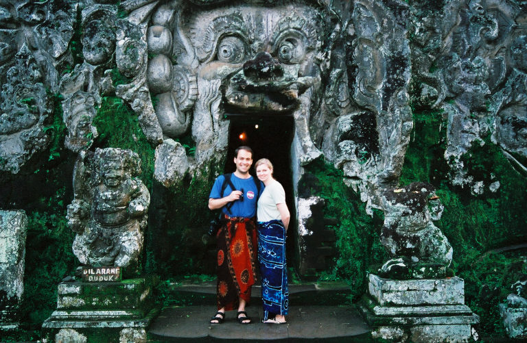 Susanne and Andy at Goa Gajah, Bali on their honeymoon